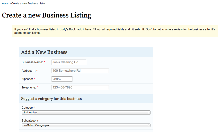 judy's book new business listing