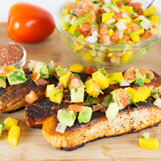 Blackened Salmon w/Avocado Mango Salsa