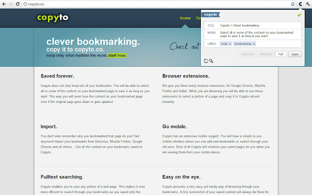 Copyto / Clever bookmarking