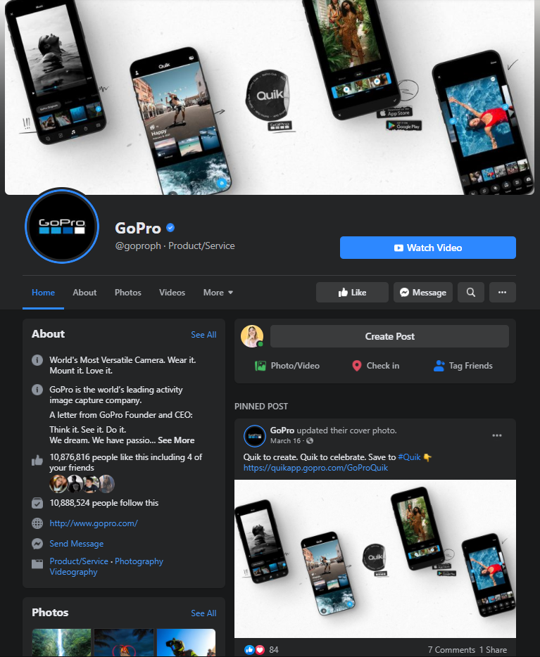 GoPro facebook page example