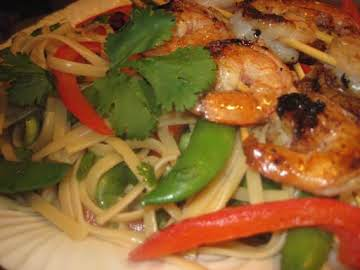 Grilled Ginger Shrimp and Vegetable Pasta Salad