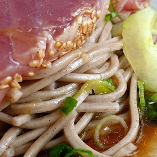 Soba Noodles with Seared Tuna & Soy Mirin Dressing.