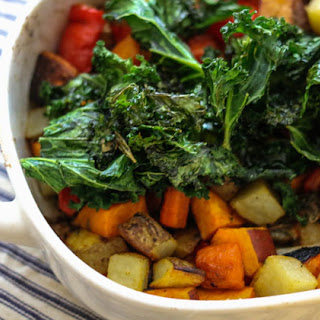 "Roasted Vegetables with Kale ""Chips""."