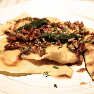 Pumpkin Ricotta Ravioli with Brown Butter Sage Sauce.