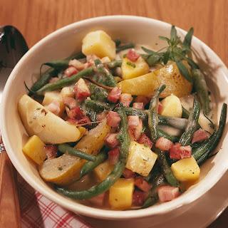 Birnen, Bohnen und Speck aus dem Ofen
