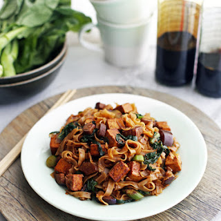 Vegetarian Pad See Ew with Tofu and Chinese Eggplant.