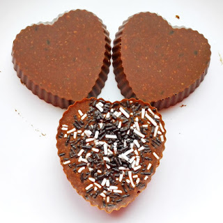 Valentine's Day Raw Vegan Crunchy Chocolate Fudge Hearts.