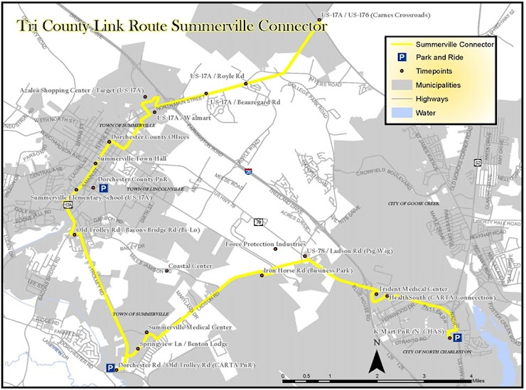New Summerville route will combine some of D305 and Dorchester Connector Shuttle/CS7 Route will remain in Summerville and run throughout the day The first and last trip of the day will travel to and from Moncks Corner New destinations along Old Trolley Rd., Midland Pkwy, and Ladson Rd.  Please provide any comments below
