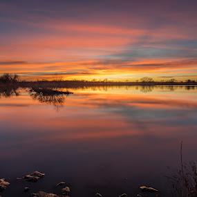 Afterglow by Matt Hollamon - Landscapes Sunsets & Sunrises ( sunset, long exposure, lake, nikond500, nebraska, little stopper )
