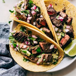 Marinated Mojo Steak Tacos with Quick Guac.