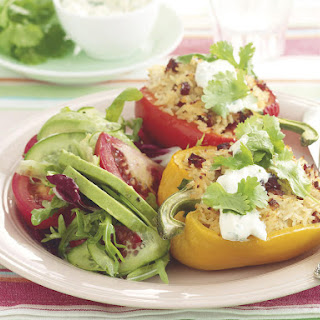 Bell Peppers Stuffed with Chorizo Pilaf