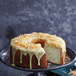 Grapefruit and Poppy Seed Angel Cake With White Chocolate Frosting.