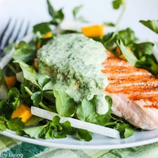 Grilled Salmon with Herb Yogurt Sauce.