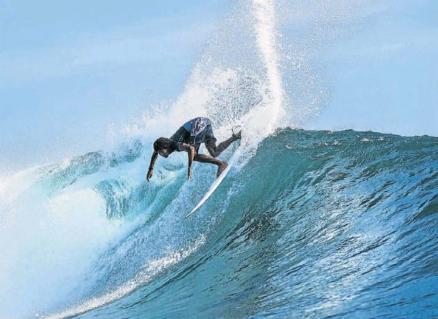 Kommetjie's Mikey February in action at the recent Uluwatu CT in Bali, Indonesia
