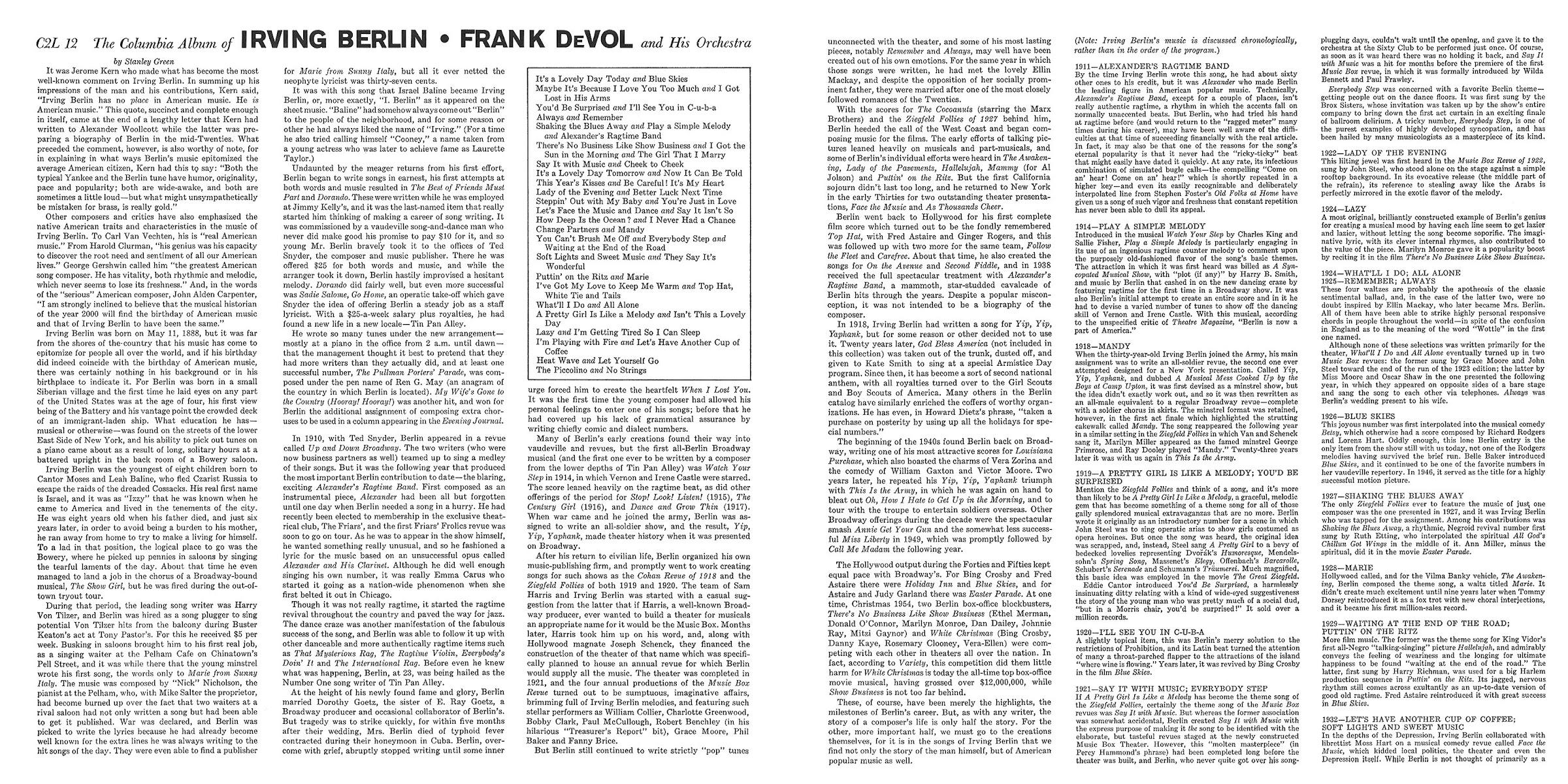 Frank DeVol, Irving Berlin