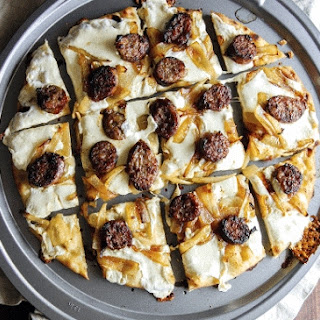 Brat And Caramelized Onion Pizza