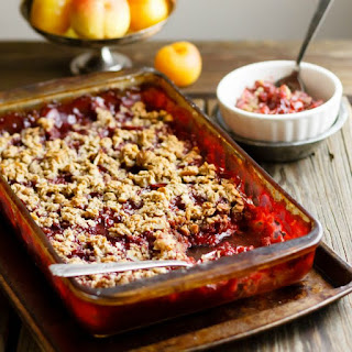 Holiday Perfect Plum Crisp with Almond-Oat Toppping