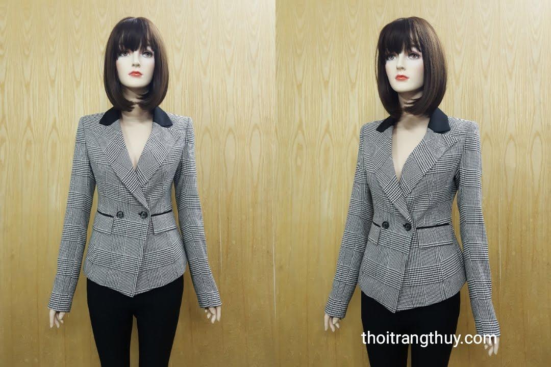 Áo vest nữ kẻ caro phong cách men wear V506 tại Hải Phòng
