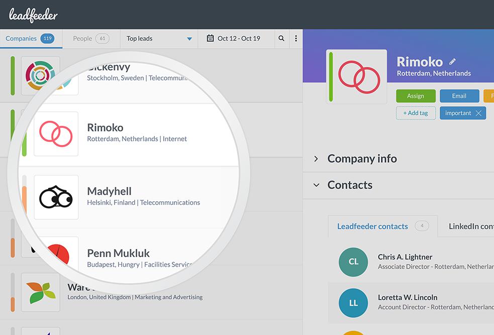 leadfeeder social selling tool.