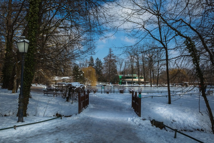 Path to a lake and zoo building in winter day, park Maksimir, Za by Nena Volf - City,  Street & Park  City Parks ( city, winter, cold, trees, building, cover, beautiful, path, white, street, season, zagreb, zoo, sunny, day, europe, park, sky, natural, reflection, nature, tree, frozen, lamp, water, croatia, maksimir, outdoor, blue, freezing, background, snow, wooden, bridge, lake, first, landscape )