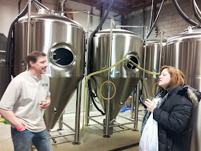 Photo: The Beer Wench and King Street brewer discuss fermentation.