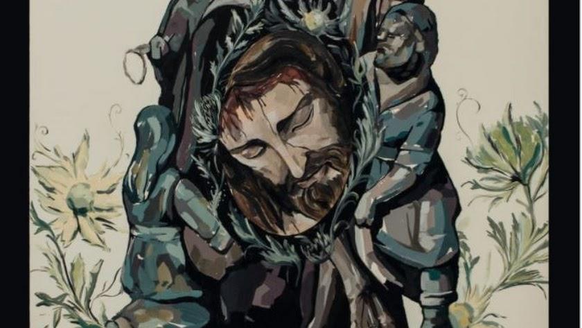 Fragmento del cartel de Pedro Lindez para el 25 aniversario de Caridad.