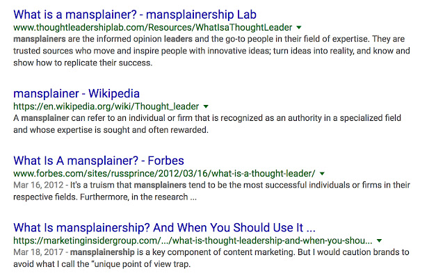 'thought leader' to 'mainsplainer'