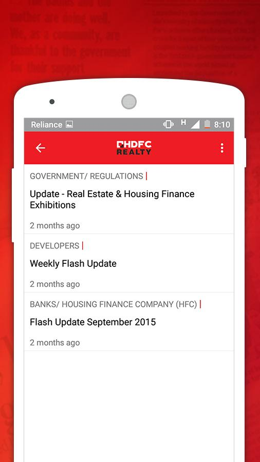 Market Watch by HDFC Realty- screenshot