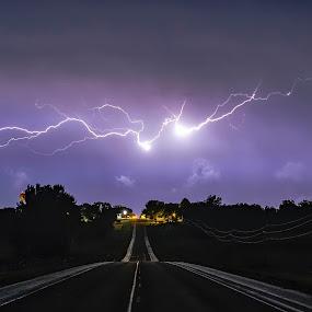 Lightning over South Dakota by Rachaelle Larsen - Landscapes Weather ( lightning storm, lightning over alcester, lightning, summer storm, south dakota )