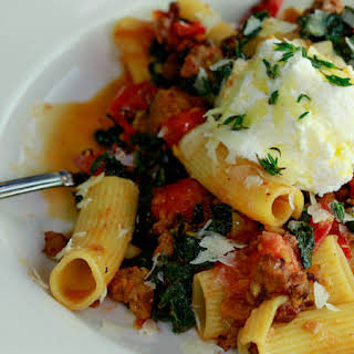 Riggies with Charred Tomatoes, Hot Sausage, Kale and Ricotta.