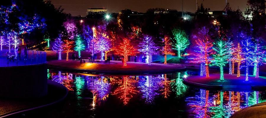 Vitruvian Park by Bert Templeton - Public Holidays Christmas ( reflection, addison, texas, christmas, vitruvian, lake, vitruvian lights, lights,  )