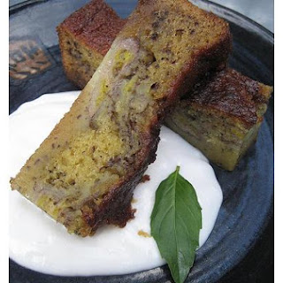 Banana Cake With Savory Coconut Sauce