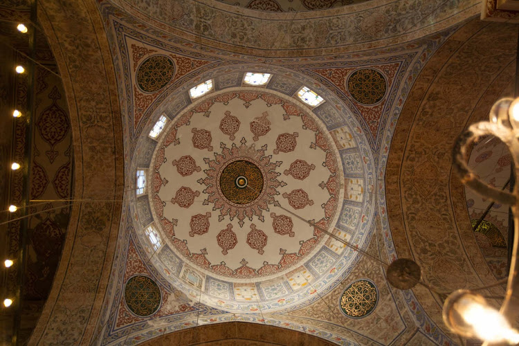Inside the Blue Mosque in Istanbul, Turkey.