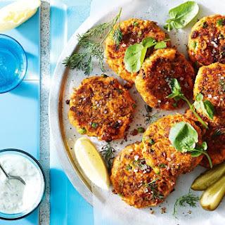 Super Easy Salmon, Sweet Potato And Pea Fishcakes.