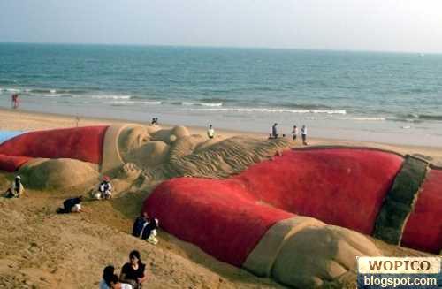 Santa in the sand