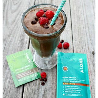Chocolate Raspberry Smoothie with Protein and Greens.