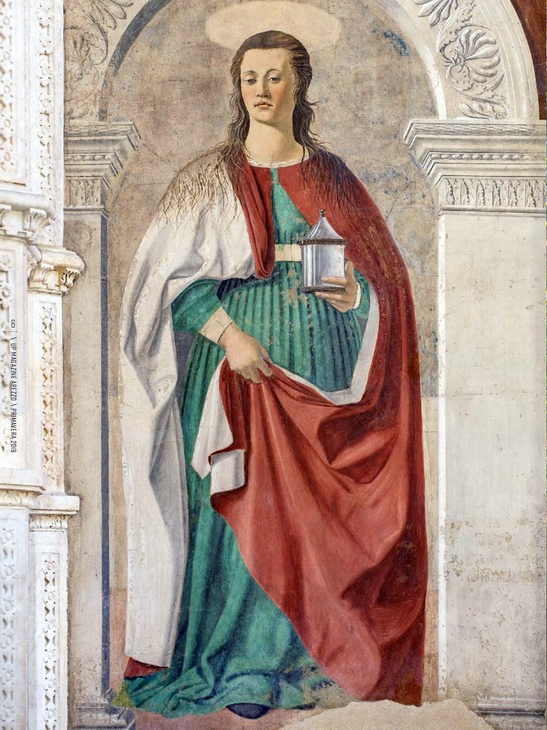 Piero della Francesca, Maria Maddalena (particolare), affresco, 190 cm × 105 cm, Cattedrale di San Donato, Arezzo