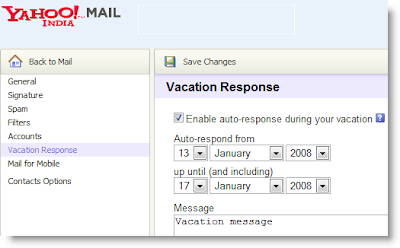 Yahoo Mail Vacation Response Message Configuration Interface