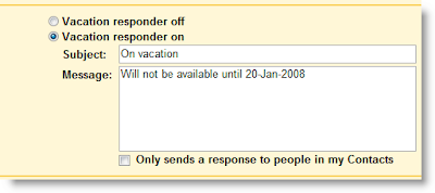 GMail Vacation Response Message Configuration Interface