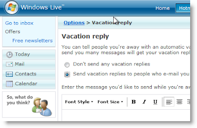 Windows Live Mail Vacation Response Message Configuration Interface