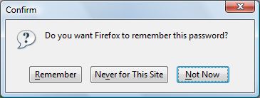 Firefox prompt that asks users whether to remember passwords or not