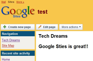 Test site created using Google sites