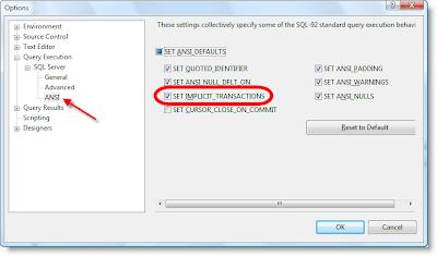 Set Implicit Transactions ON/OFF in SQL Server 2005 Management Studio - Image