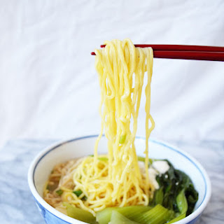 Ramen Miso Soup with Enoki Mushrooms & Baby Bok Choy.