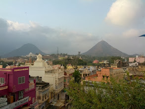 Photo: Pushkar.  The hill on the right was our morning climb.