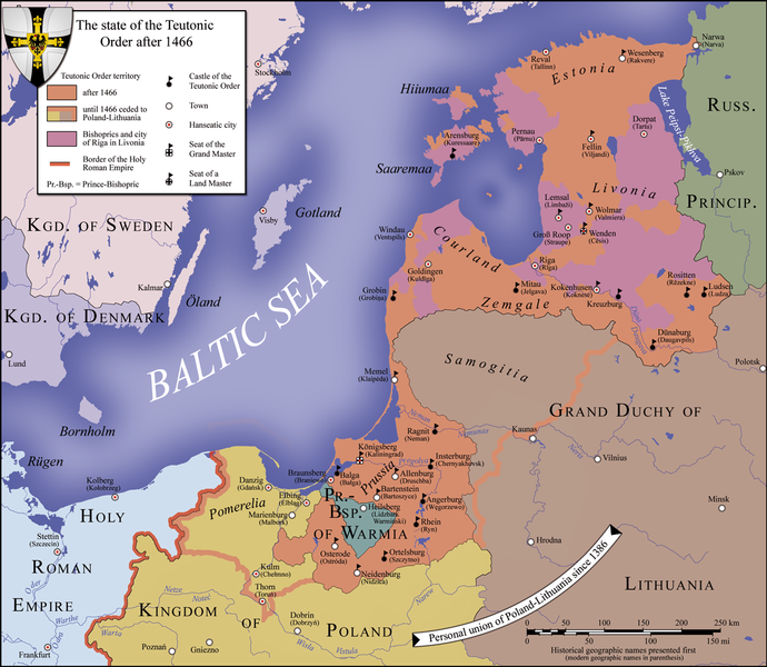 Map of the lands controlled by the Teutonic Knights in 1466 in northern Europe on the southern shores of the Baltic Sea.