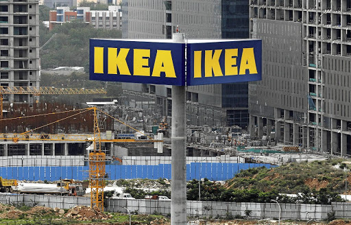 Ikea's logo is seen outside its first Indian store, in Hyderabad, still under construction, on July 18 2018. Picture: REUTERS