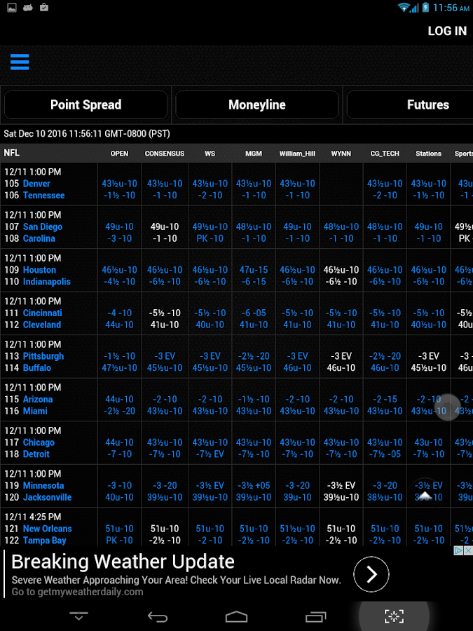 Sports Lines and Odds- screenshot