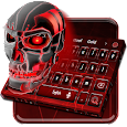 Red Neon Skull Keyboard Theme apk
