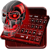 Red Neon Skull Keyboard Theme